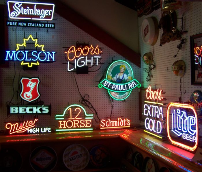 Great display of Neon Lights and signage at Bahoukas Beer MuZeum in Havre de Grace, MD