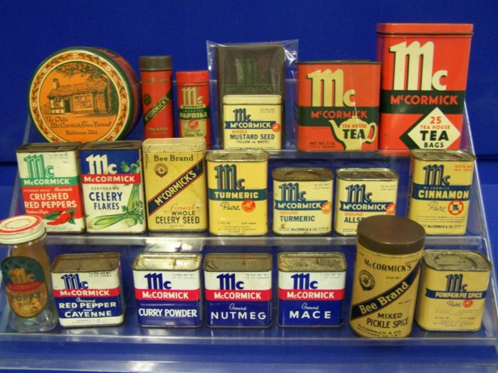 Vintage McCormick Spice Tins at Bahoukas in Havre de Grace