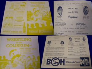 1956 wrestling programs featuring Natty Bo - at Bahoukas in Havre de Grace