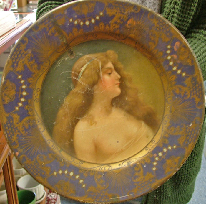 beautiful advertising tin plate of red headed lady with long wavy hair for Anheuser Busch