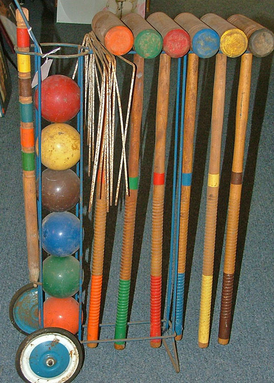 beautiful wood croquet set for some real family fun time ready for you at Bahoukas!