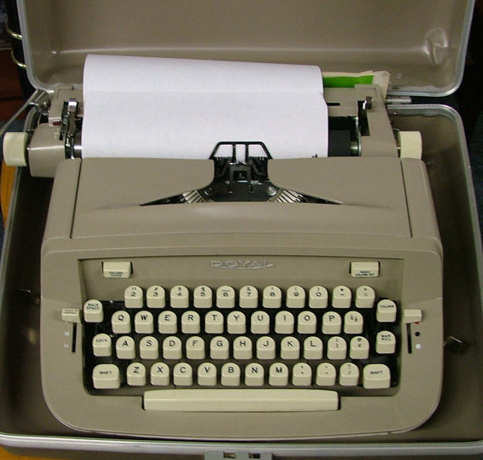 Manual typewriter by Royal for the aspiring author on your list at Bahoukas in Havre de Grace