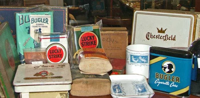 cigarette collectibles at Bahoukas