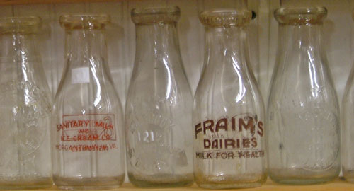 Close up of a few collectible milk bottles at Bahoukas