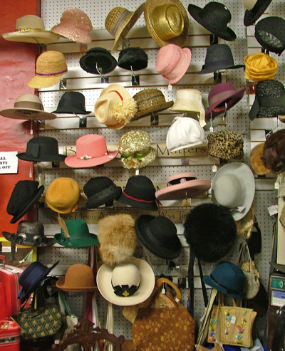 millinery display at Bahoukas - something for every outfit if you like