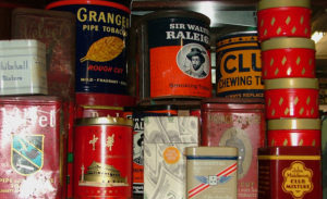 tins of pipe-cigarette tobacco at Bahoukas Antique Mall
