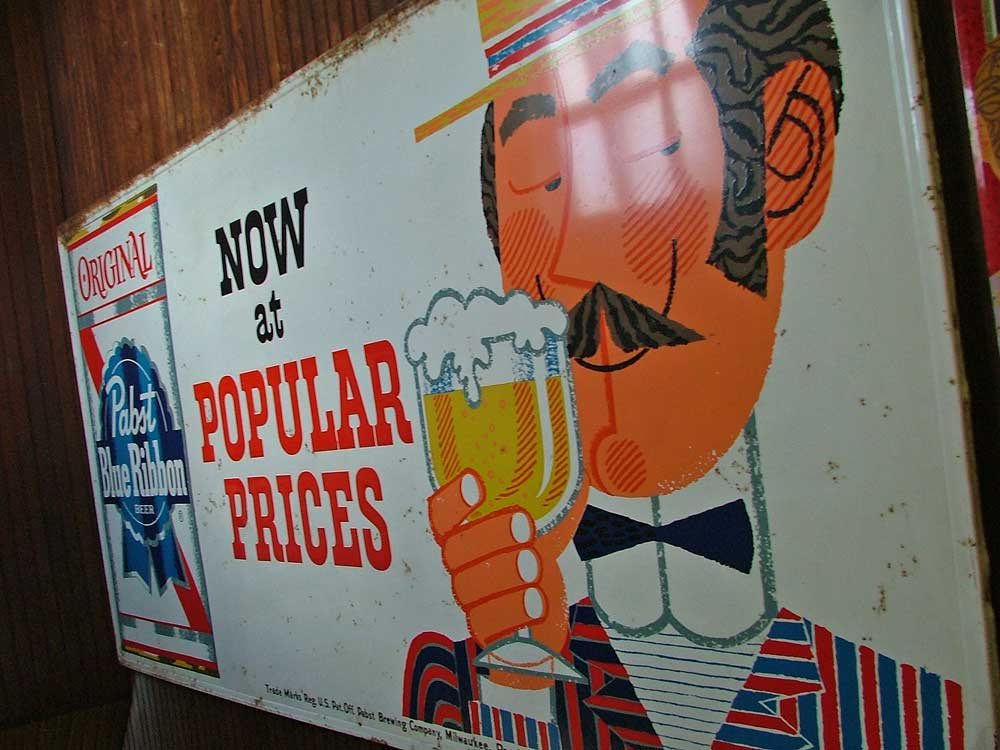 Large metal advertising signage for Pabst from the old Havre de Grace Beer & Wine Distributorship available at Bahoukas