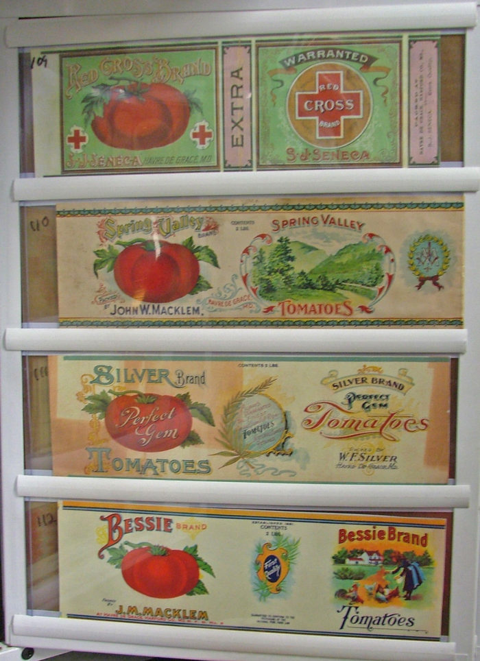Beautiful canning labels from early 20th century in Havre de Grace