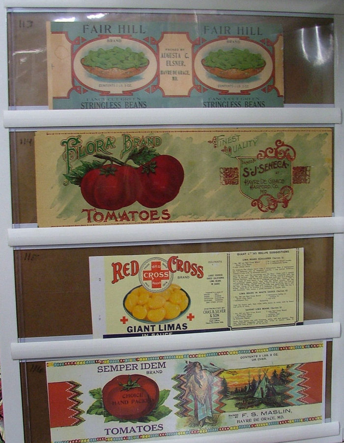 Notice the beautiful graphics on early 20th century canning labels, Havre de Grace, MD