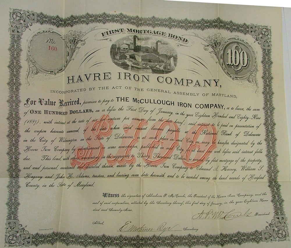Bond from Havre Iron Works at Bahoukas Antiques in Havre de Grace, MD