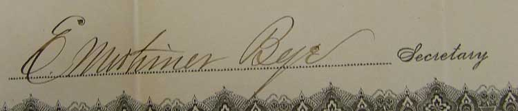 Signature of E. Mortimer Bye, Havre Iron Works