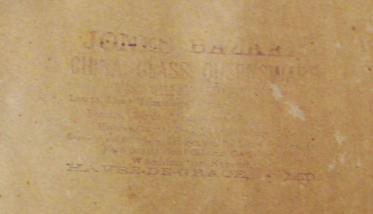 on back of the tradecard of the USS Maine is this reference to Jones Bazaar in Have de Grace MD