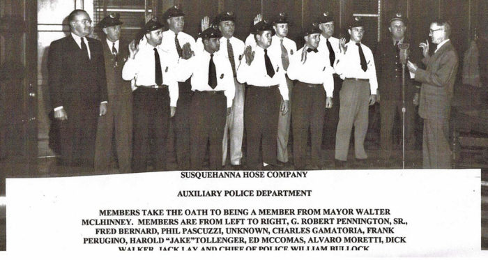 Photo of the Susquehanna Hose Co Auxiliary Police Dept being sworn in my Mayor Walter McLhinney - Havre de Grace - 1947-49