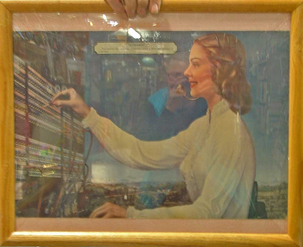 "reproduction of a famous painting titled ""The Operator"" to honor switchboard operators."