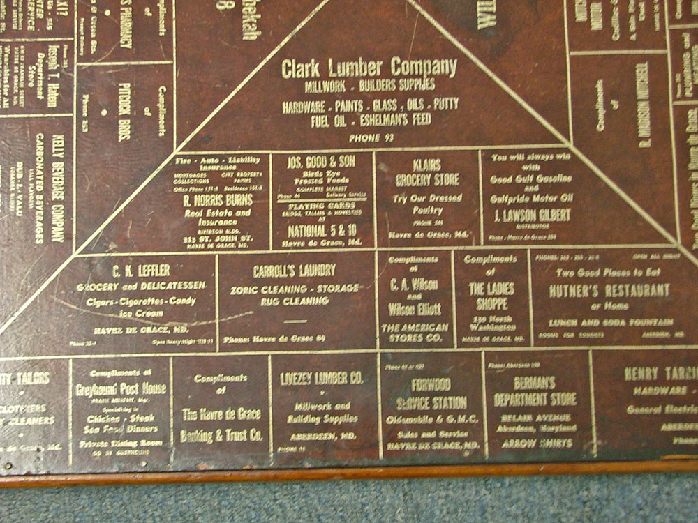 Section 2 close of advertising on 1940s card table for Havre de Grace