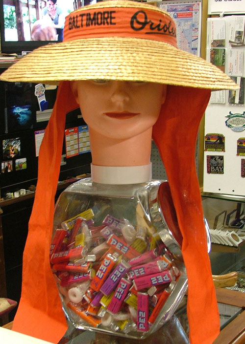 Ladies Baltimore's Orioles wide-brimmed hat just in time for the Preakness - available at Bahoukas