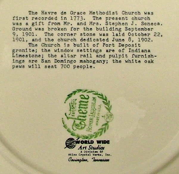 details on back of HdG Methodist Church commemorative plate