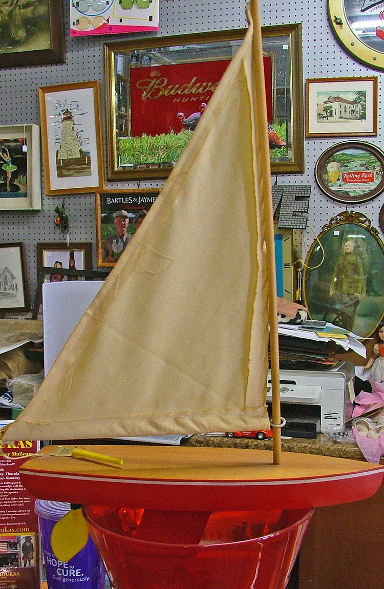 Our friendly young ghost loves this boat at Bahoukas Antiques in Havre de Grace