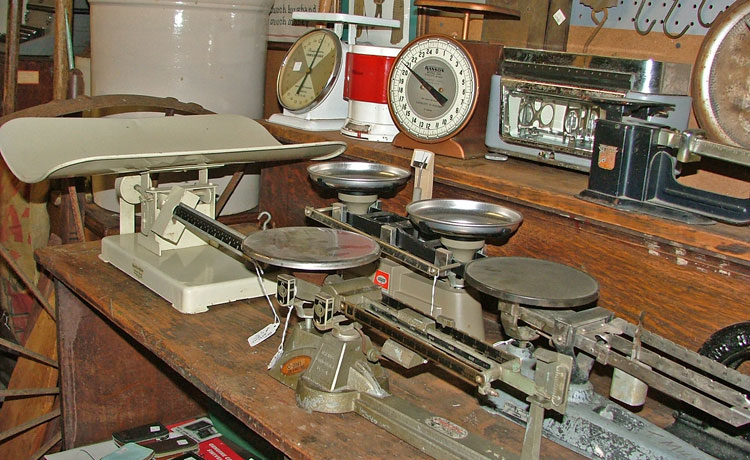 Many varieties of scales at Bahoukas Antique Mall