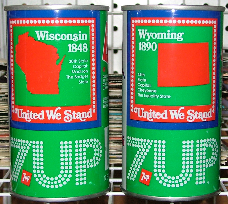 example of the individual cans that represent each state in this 70-up Uncle Sam collection