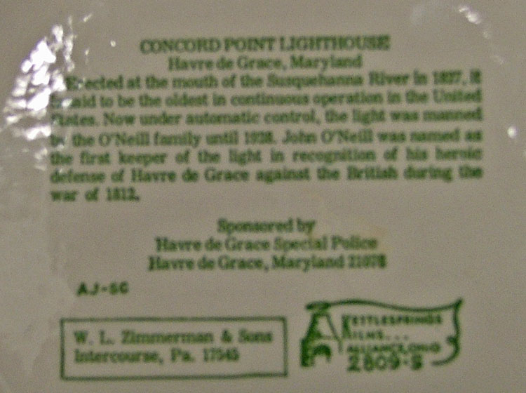 History of Concord Pt Lighthouse on back of plate - Bahoukas