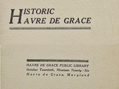 Library pamphlet 1926 - havre de grace history