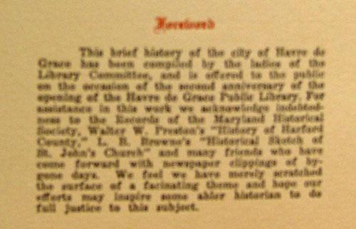Foreword - Historic Havre de Grace - 1926