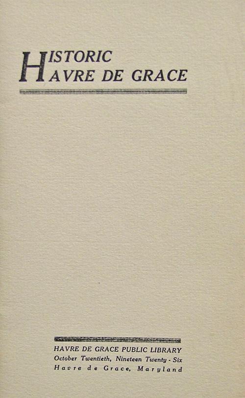 title page - Historic Havre de Grace 1926