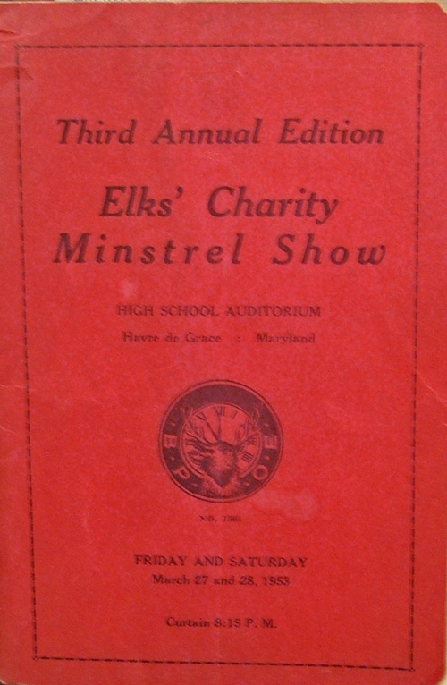 Elks' Charity Minstrel Show 1953 brochure