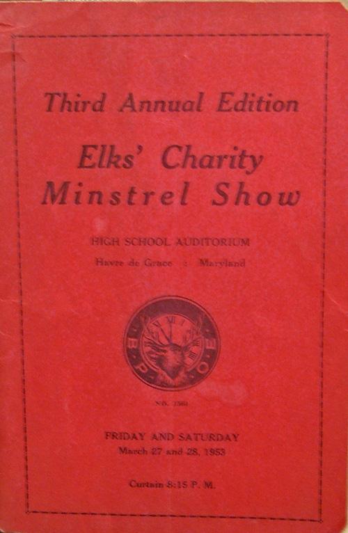 Elks' Charity Minstrel Show 1953 brochure