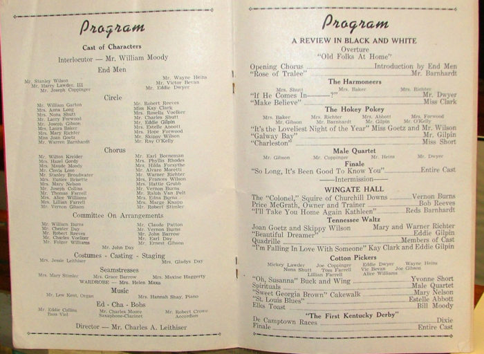 Elks' Charity Minstrel Show program - 1953