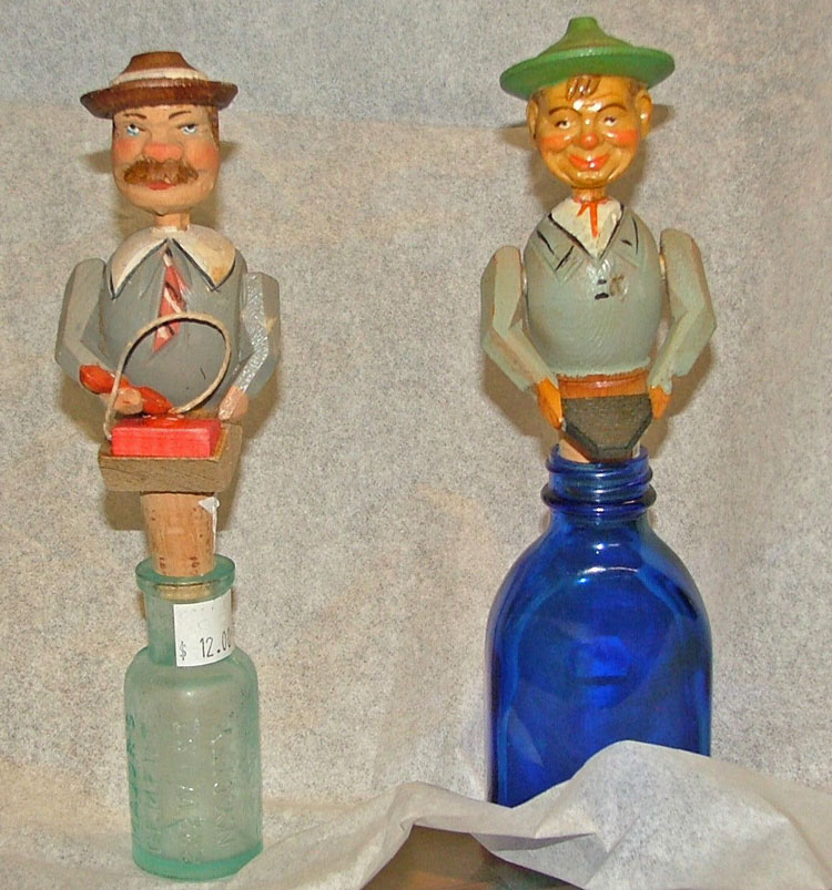 Italian Anri wood-carved bottle stoppers at Bahoukas in Havre de Grace