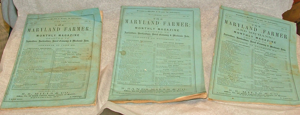Maryland Farmer magazines 1865-66 at Bahoukas