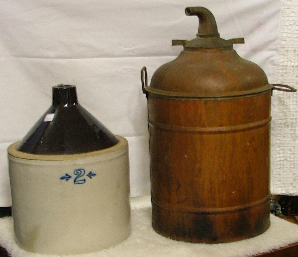 2 gal jug and copper still at Bahouaks