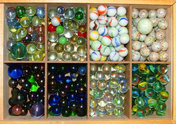 Wonderful selection of marbles available at Bahoukas Antiques in Havre de Grace Maryland