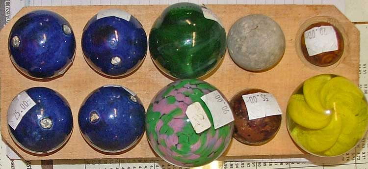 Big Marbles including Bennington and End of Day at Bahoukas Antiques in Maryland