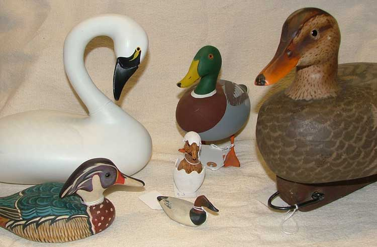 decoys in all sizes available at Bahoukas Antiques in Havre de Grace, Maryland