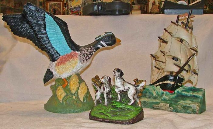 Duck, dogs or boats cast-iron doorstops at Bahoukas Antiques in Maryland