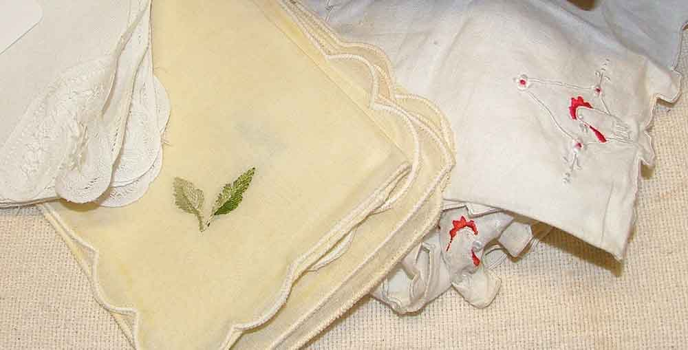 detail of beautiful vintage linens