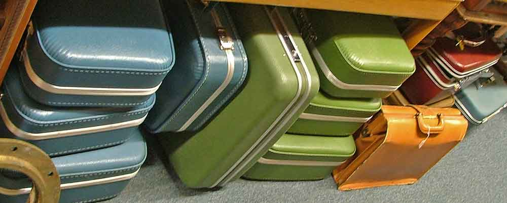 A variety of luggage pieces, many are by Samsonite, at Bahoukas Antiques in Havre de Grace, MD