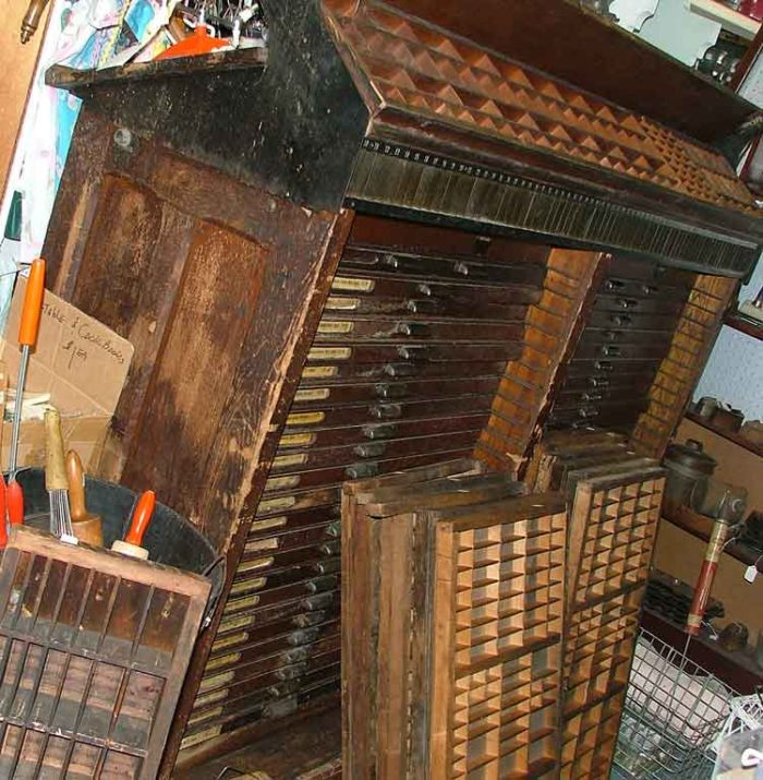 Old printer's trays often used for shadow boxes today, available at Bahoukas in Havre de Grace MD