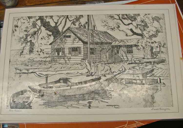 """Place mat from a collection by Lionel Barrymore, titled """"Point Pleasant."""""""