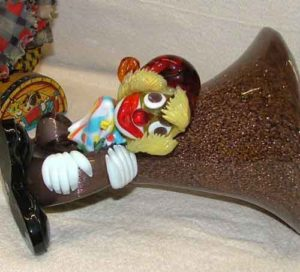 detail of the clown on the Czech blown glass clown cornucopia