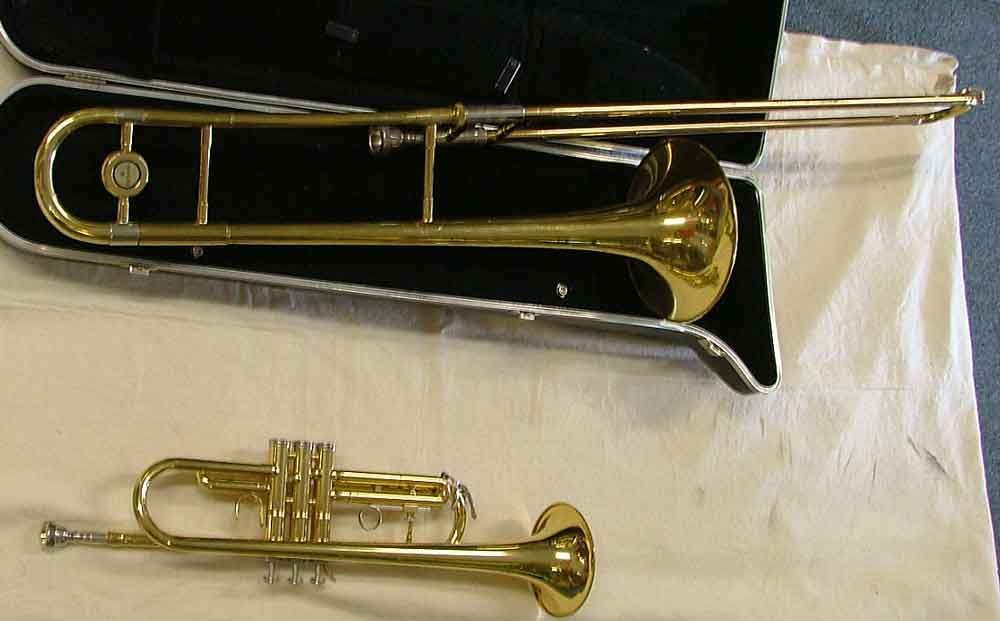Trombone with case and a trumpet are just a few of the musical instruments you might find at Bahoukas Antiques, Havre de Grace, Harford Co., Maryland