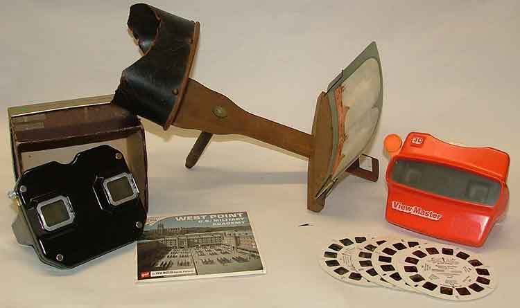 stereoscope with view cards from 1880-1910, Sawyer Stereoscope Viewmaster from the 1950s, modern 3D Viewmaster