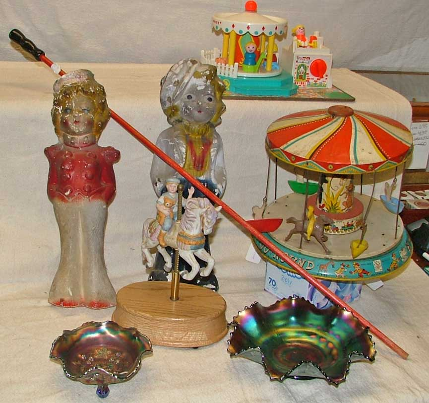 Chalk Statues - Shirley Temple 1960s, carney stick carnival glass Fisher Price merry go round 972 musical carousel horse - porcelain and 1950s Kiddy Go Round
