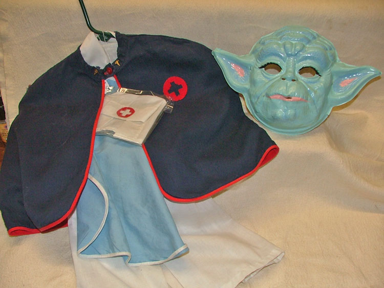 Child's nurse costume and a yoda mask available at Bahoukas in Havre de Grace MD