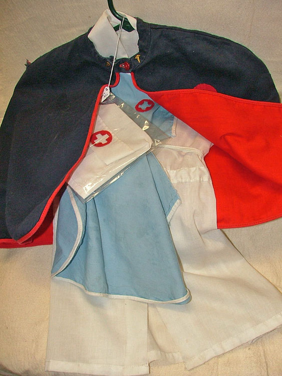 size 6 child's nurse's Halloween costume - red-lined navy blue cape, white cap and dress, light blue jumper - all at Bahoukas Antique Mall