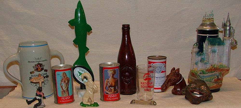 Beer collectibles including bottles, cans, beer steins, at Bahoukas Beer MuZeum in Havre de Grace