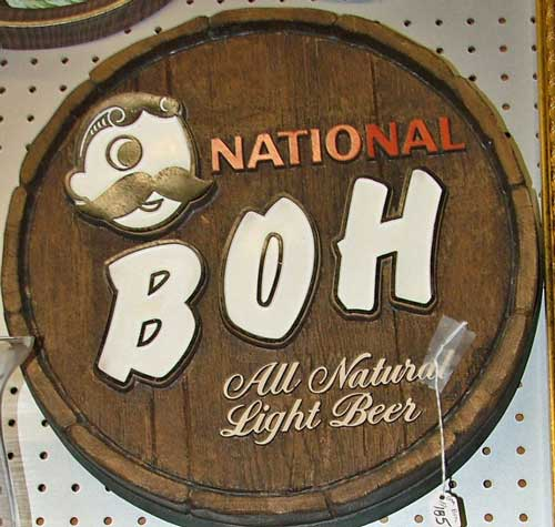 National Boh advertising sign - round barrel